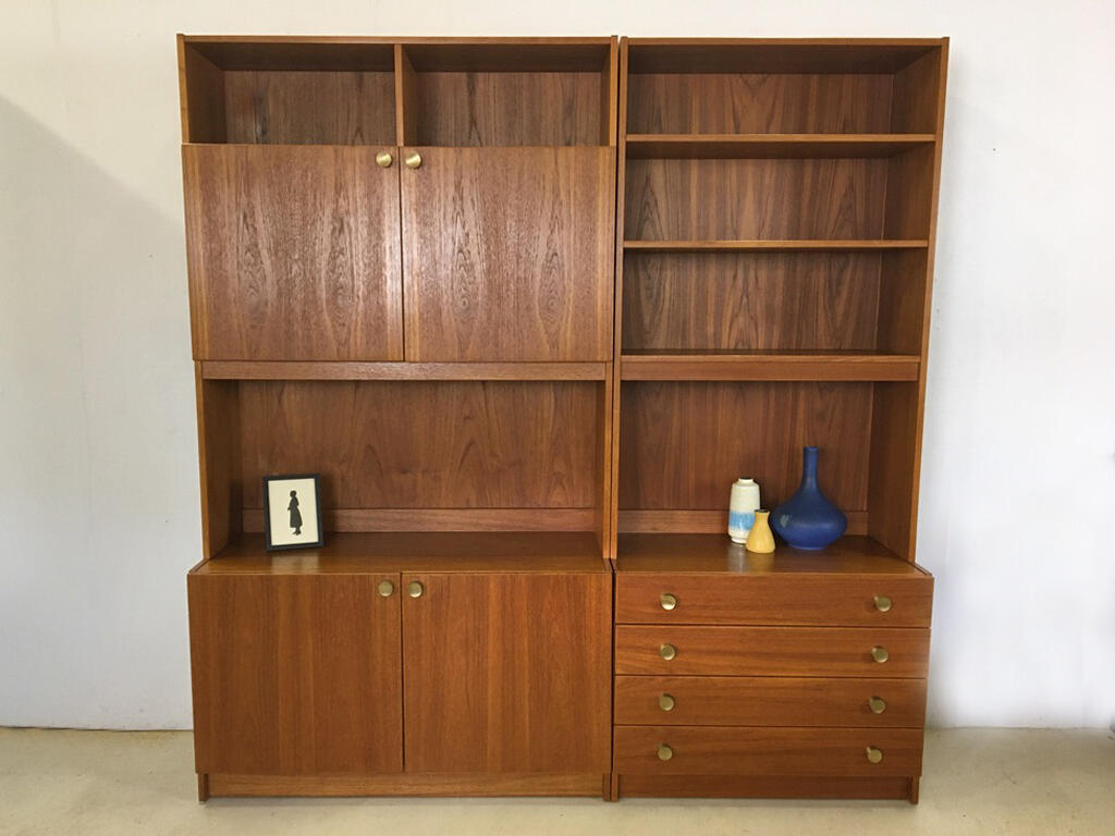 Danish Teak 4-Piece Wall Unit