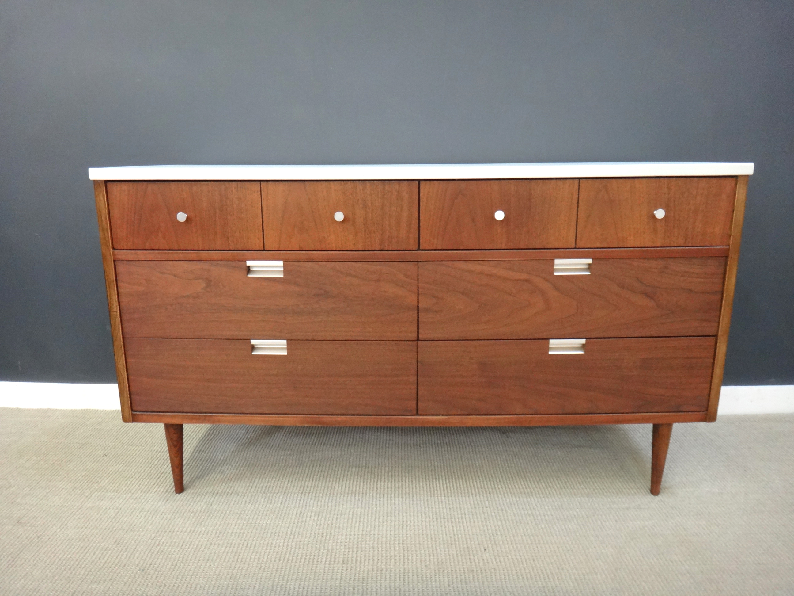 Petit Mid Century Bassett Dresser with Painted Top
