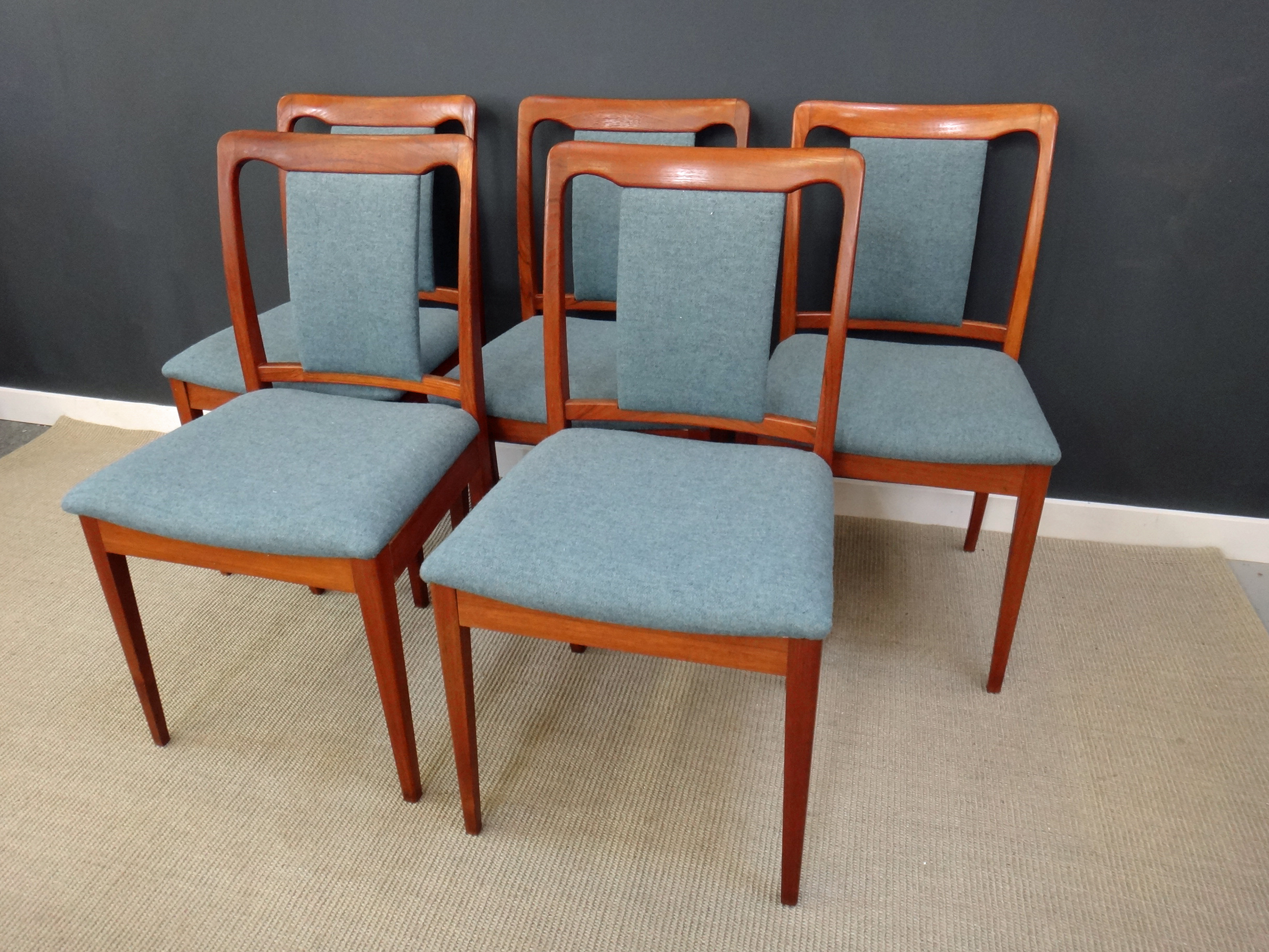 Set of Mid Century Teak Upholstered Dining Chairs