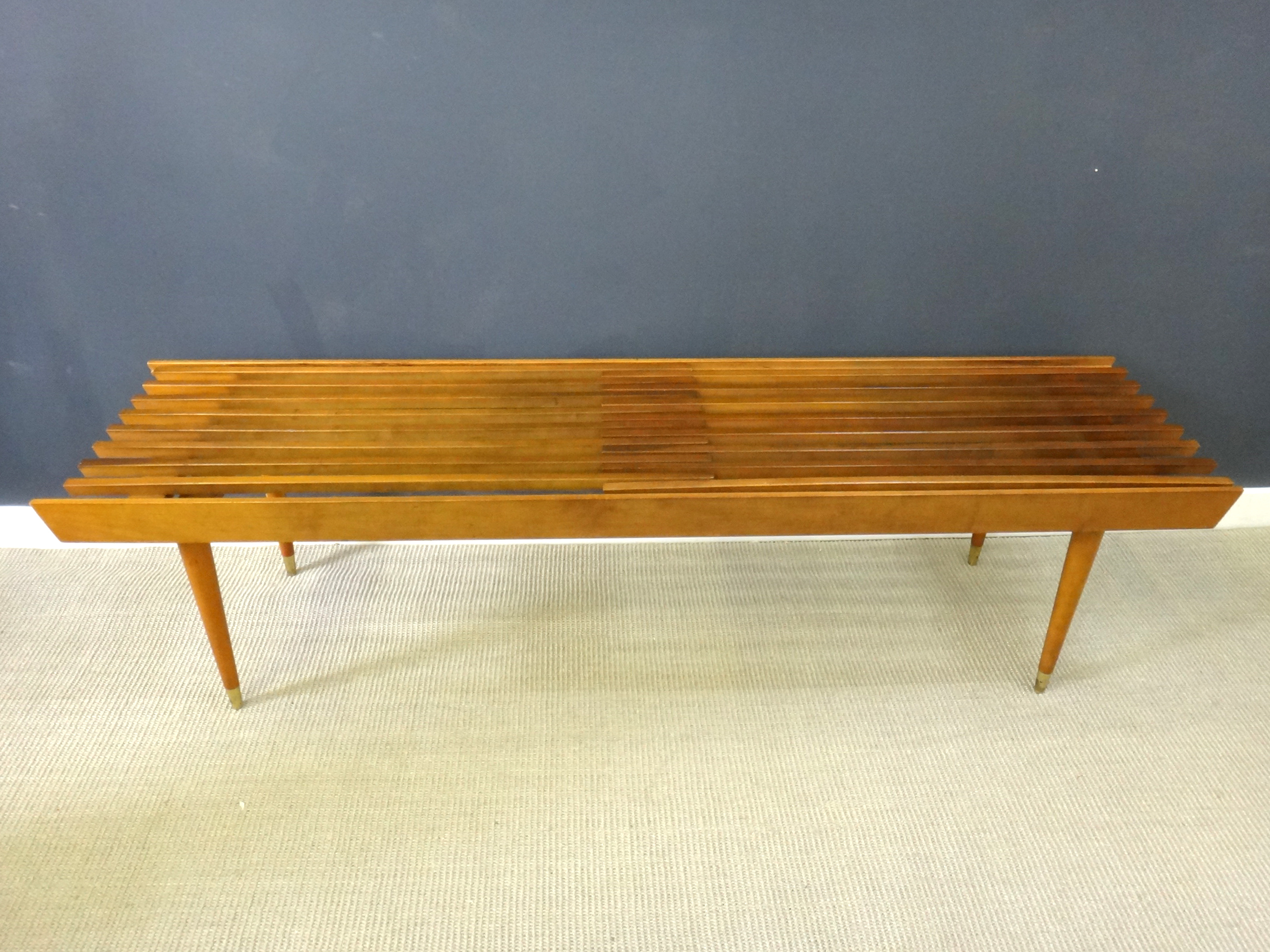 Mid Century Wood Slat Bench Retrocraft Design