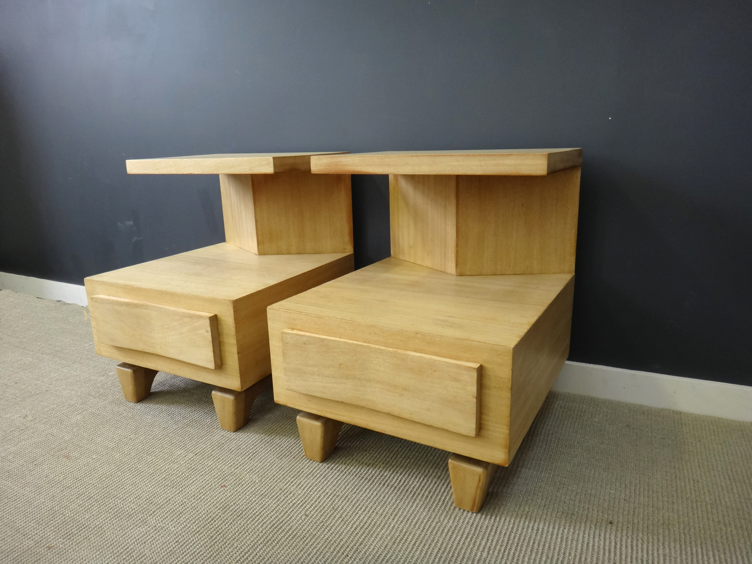 Pair Mid Century Mahogany Bedside Tables