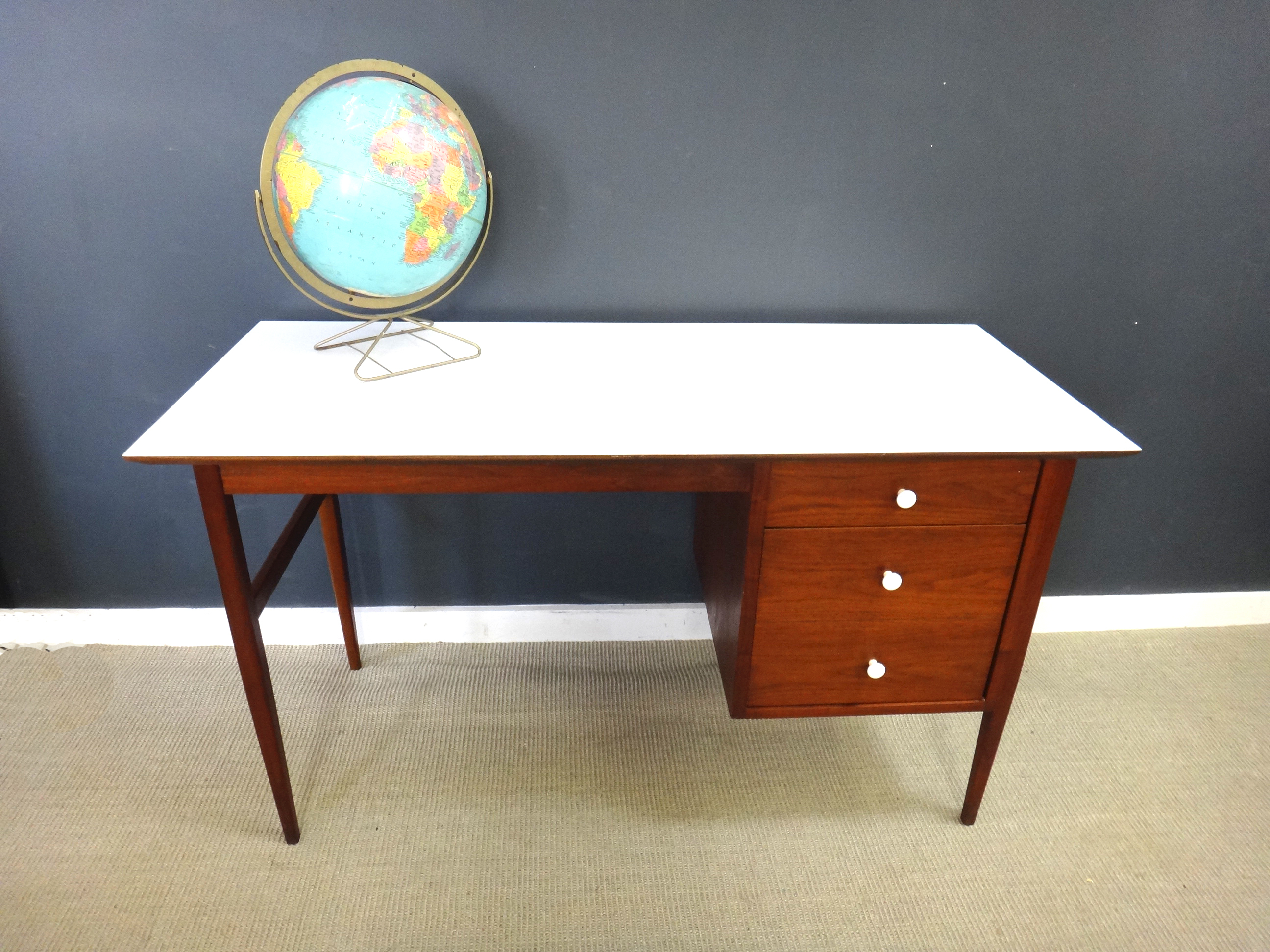 Mid Century Teak and White Laminate Desk