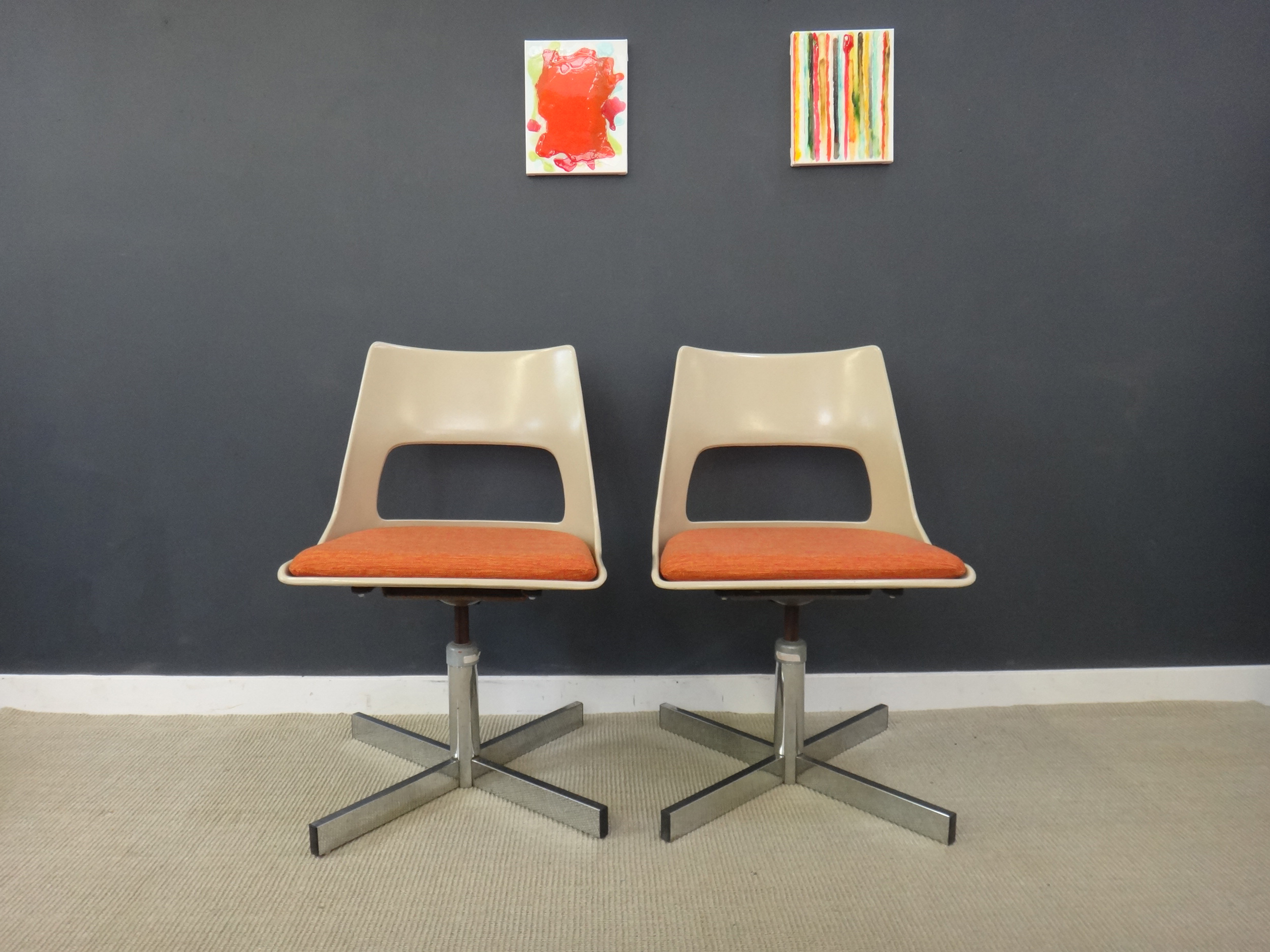 Pair of Mid Century Krueger Swivel Chairs