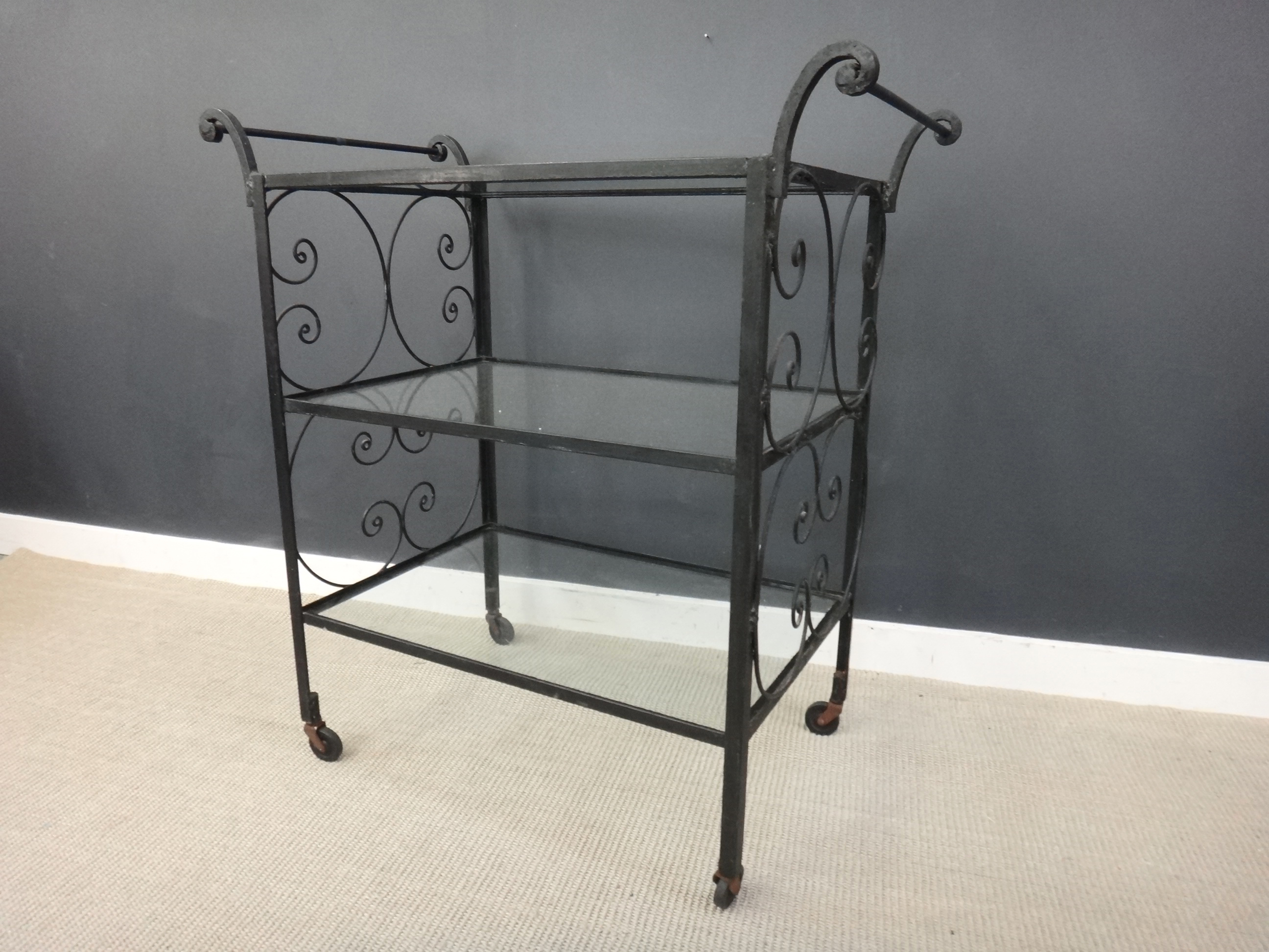 ON Sale -Vintage Wrought Iron and Glass Bar Cart