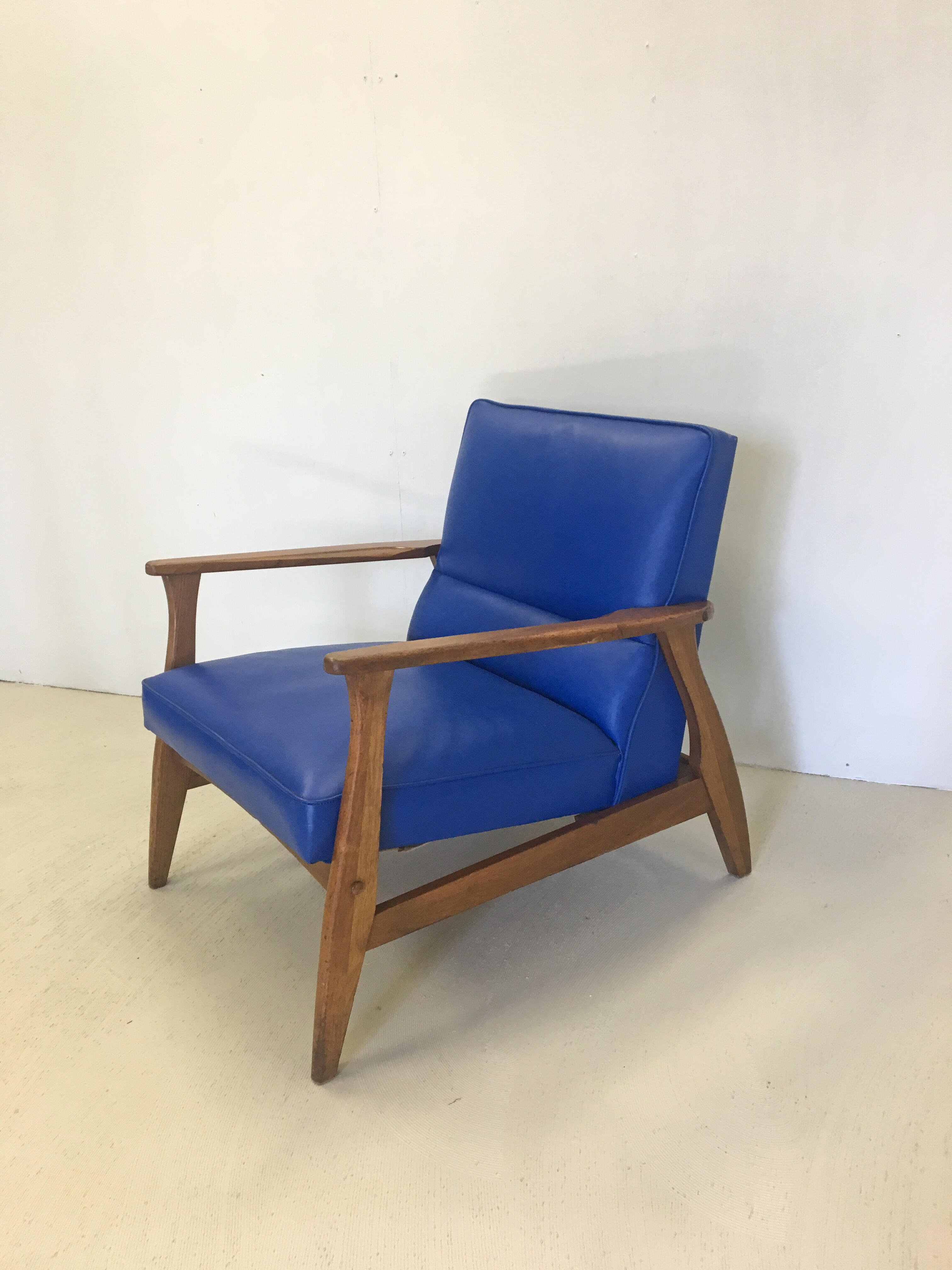 Vintage Blue Vinyl Lounge Chair