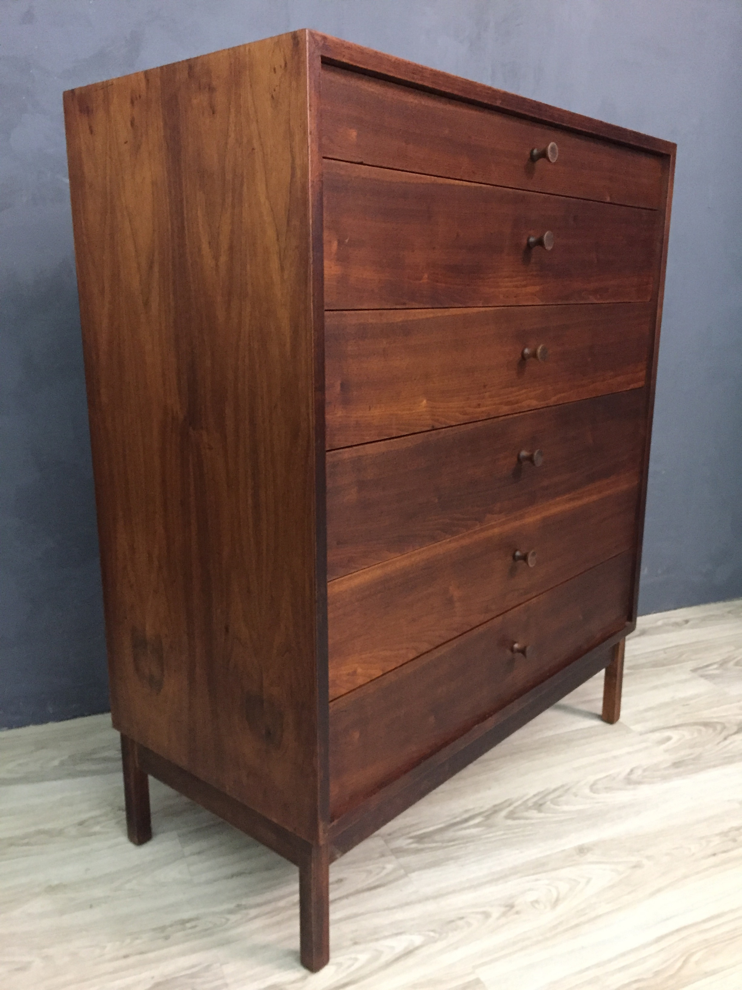 Calvin Danish Modern Upright Walnut Bureau