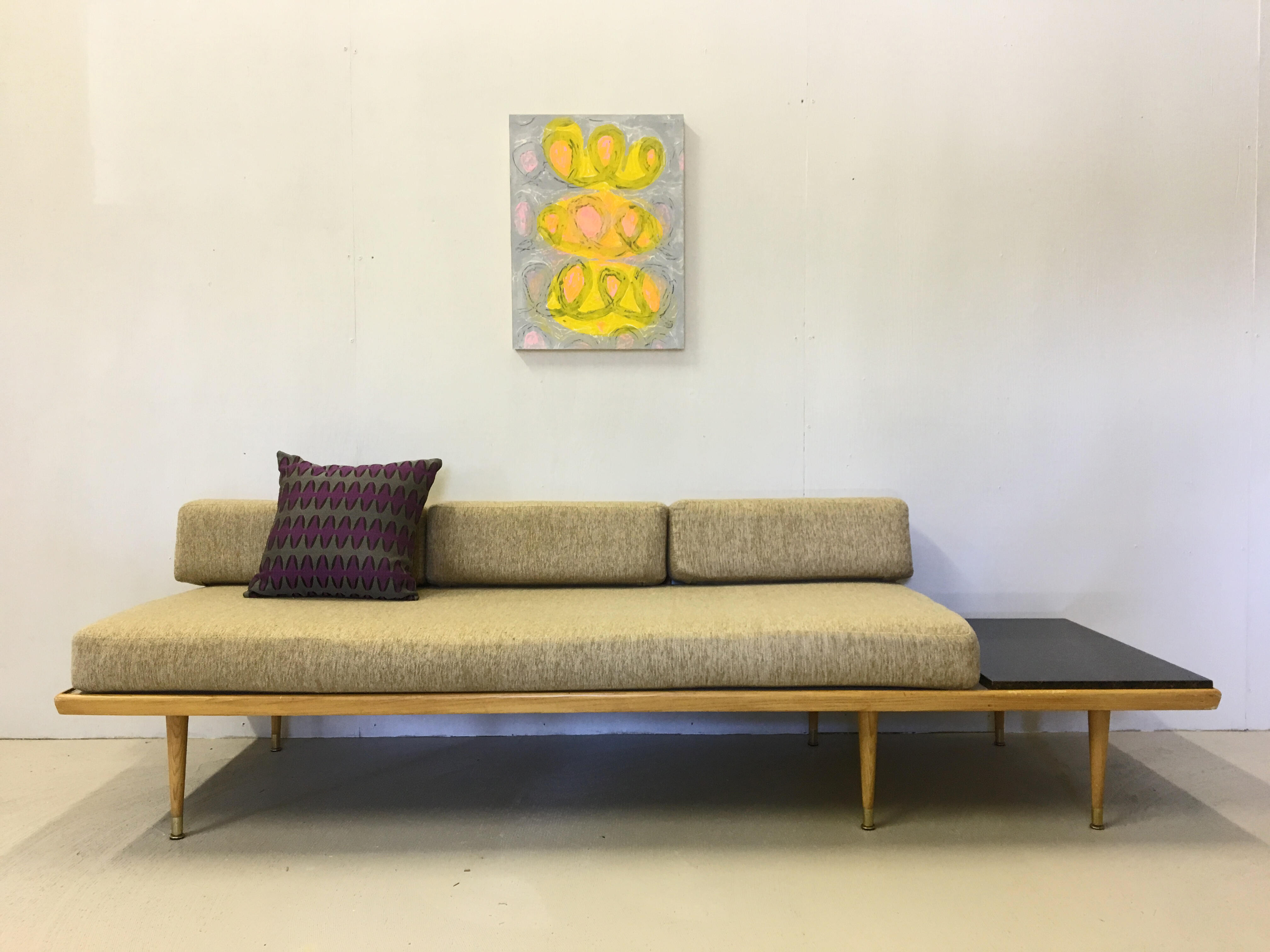 Platform Couch with Built-In Side Table