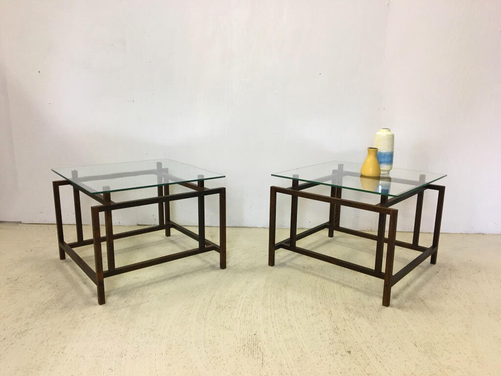 Pair of Henning Norgaard Danish Modern Rosewood and Glass Side Tables for Komfort