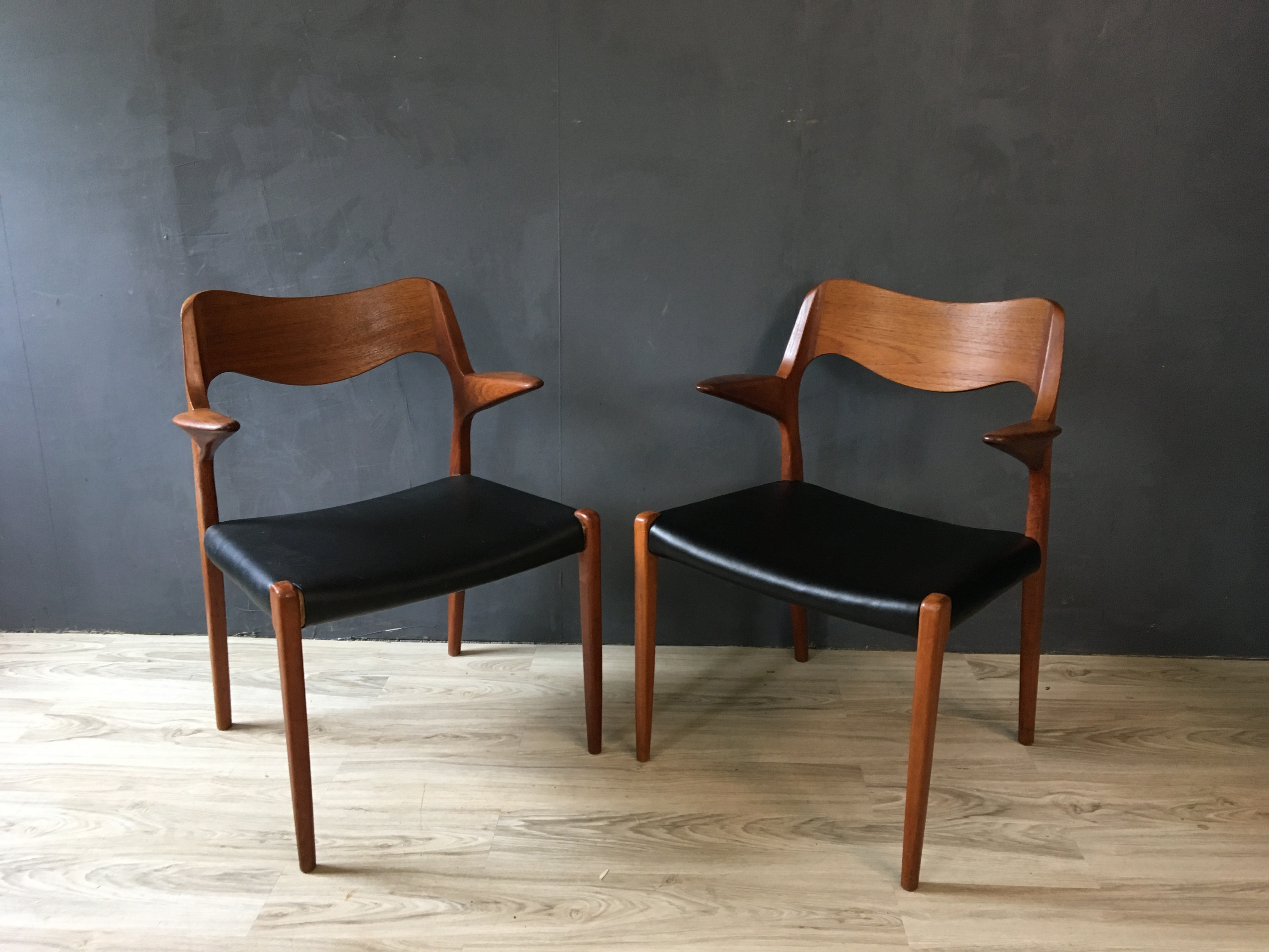 Pair of Danish Modern Niels Moller #55 Teak Armchairs