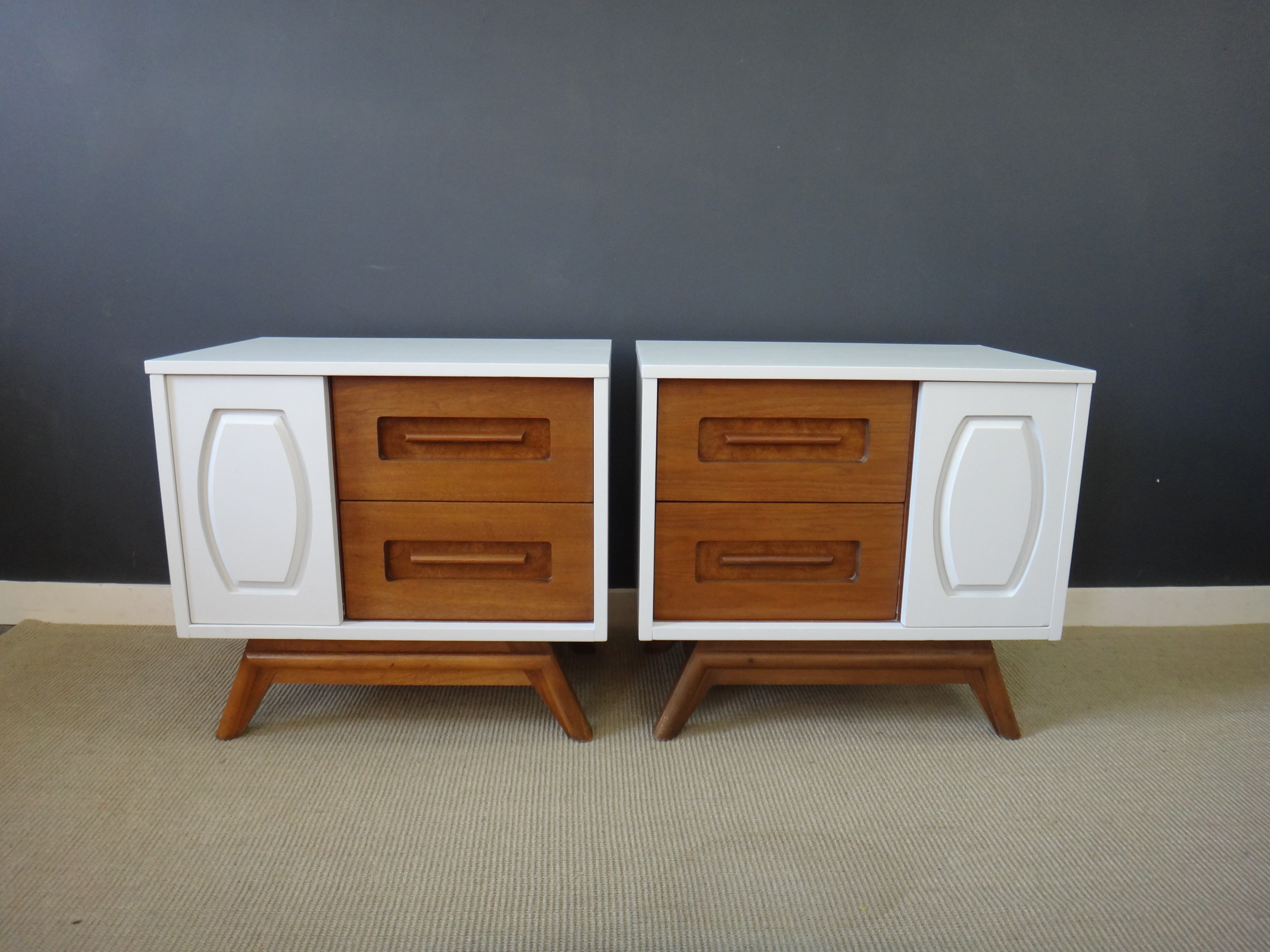 Pair Updated Mid Century Bedside Tables
