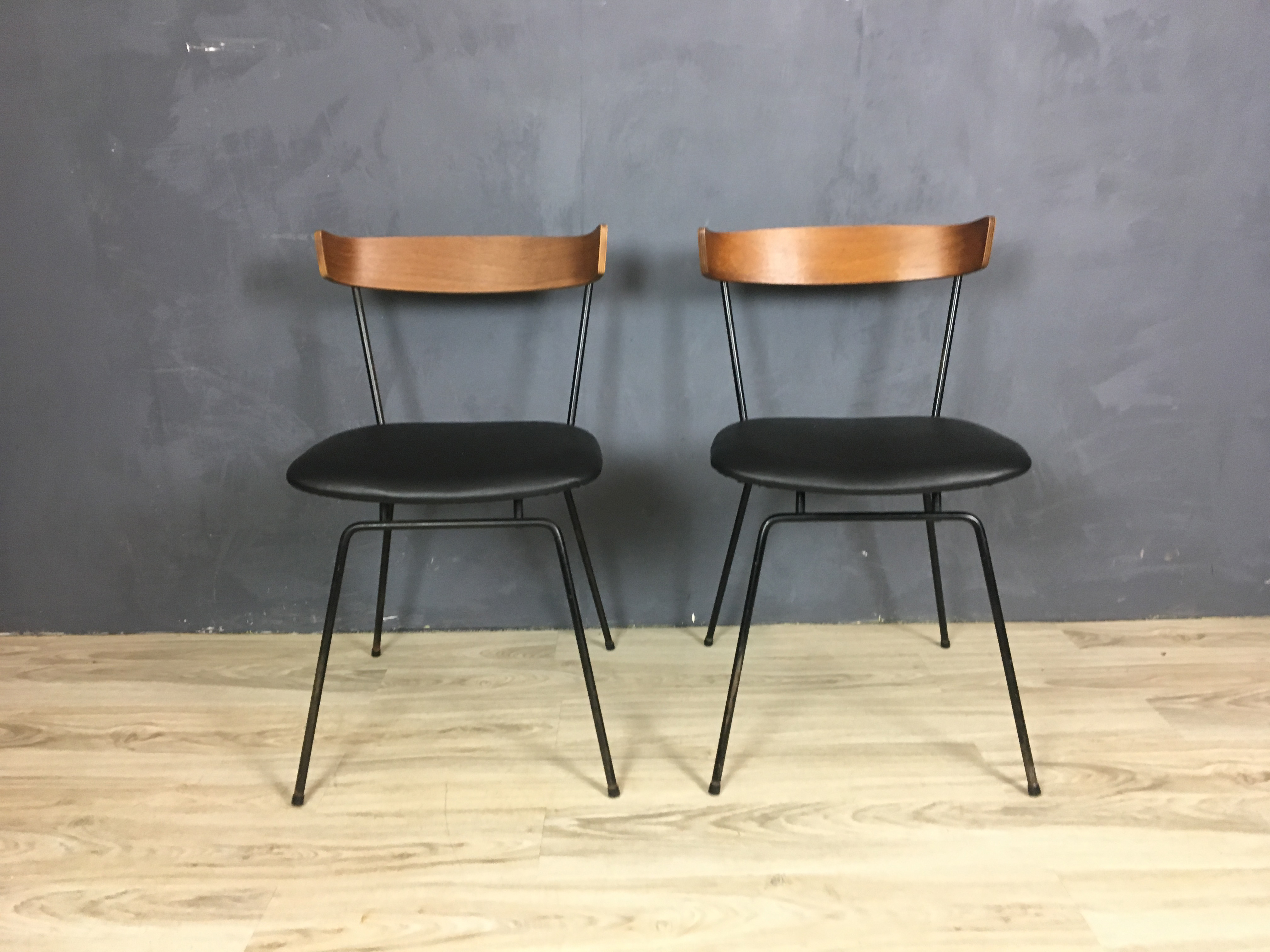 Pair of Iron and Wood Chairs by Clifford Pascoe