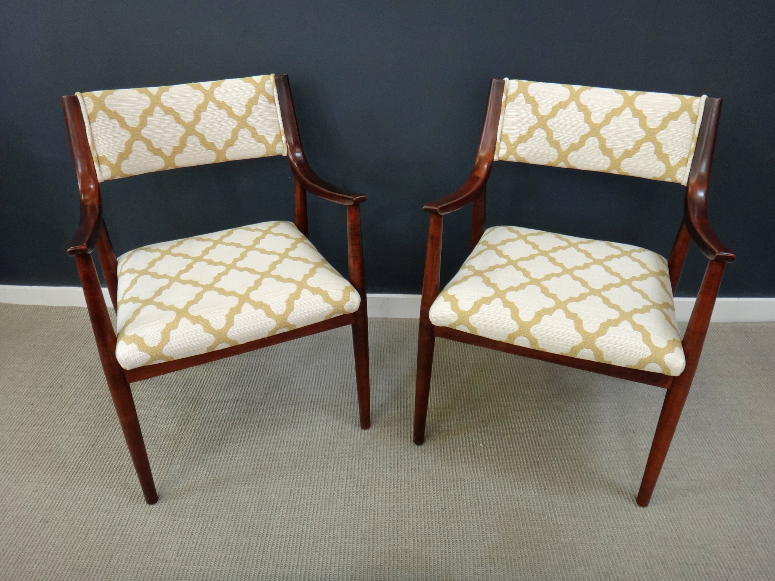 Accent Chairs Sold In Pairs.Pair Of Newly Upholstered Danish Modern Accent Chairs Retrocraft