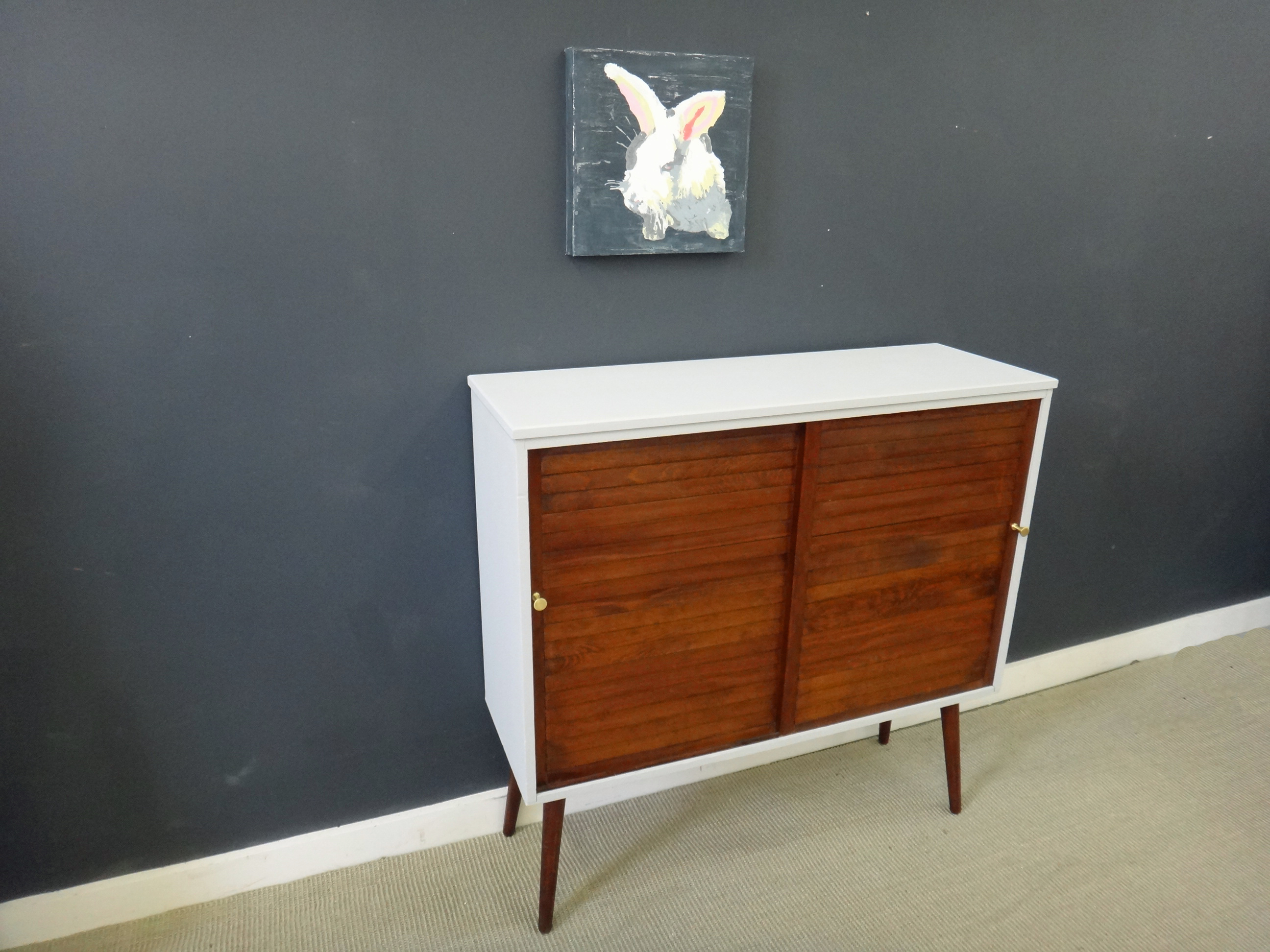 Mid Century Shelf Unit with Sliding Doors