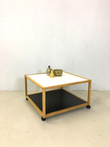 Rolling Black amp White Accent Table