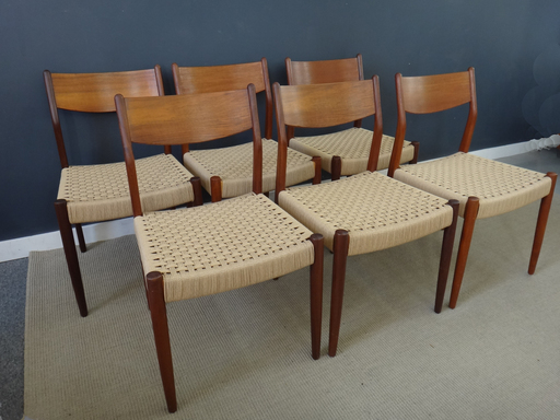 Set of six danish cord and teak dining chairs in the Moller style