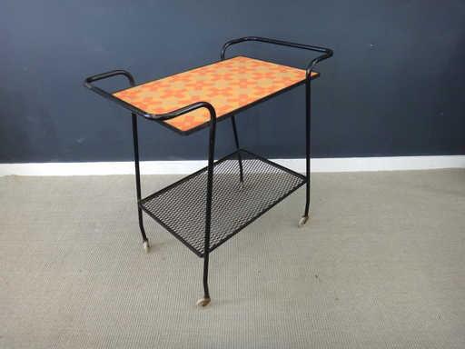 Mid Century back metal bar cart