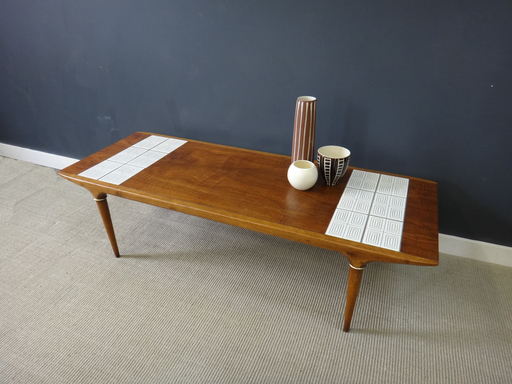 Mid Century walnut and white tile coffee table