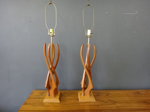 Pair of teak table lamps