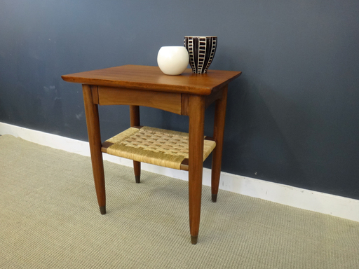 Mid Century Teak Side Table with Woven Shelf