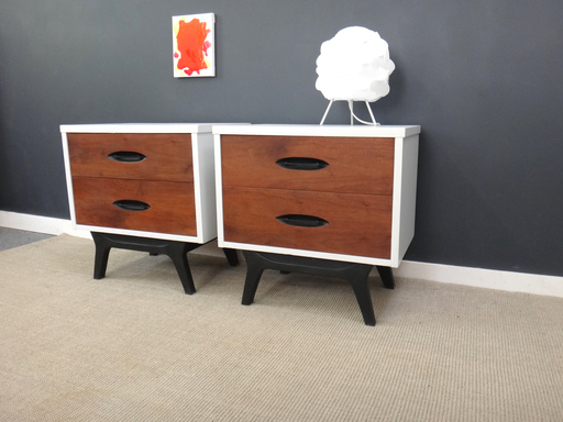 Pair Painted Mid Century Bedside Tables