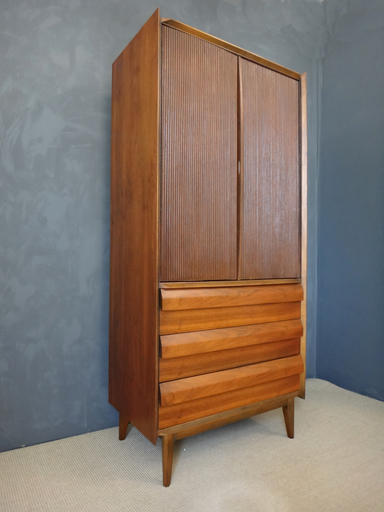 Mid Century Lane Walnut HIgboyWardrobe