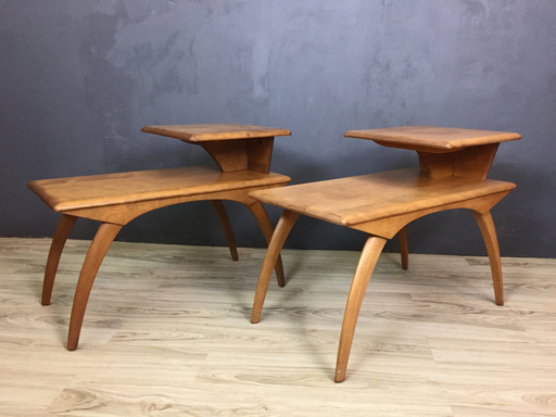 Pair of Heywood Wakefield Maple Side Tables