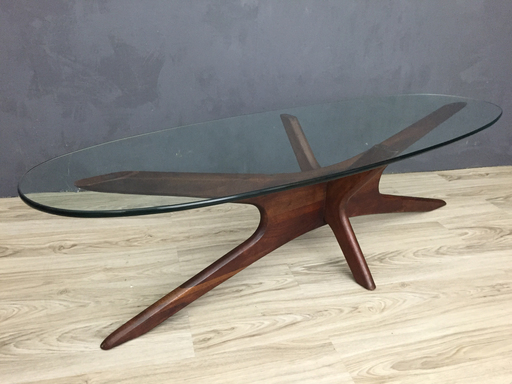 Adrian Pearsall Jacks Walnut and Glass Coffee Table