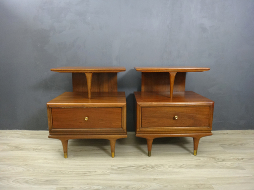 Pair Kent Coffey Continental Bedside Tables