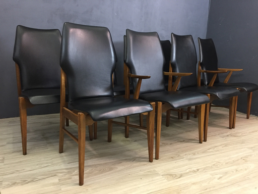 Mid Century Lane Walnut and Black Vinyl High Back Dining Chairs Boston
