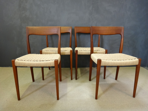 Set of Mid Century Danish Cord Moller Dining Chairs