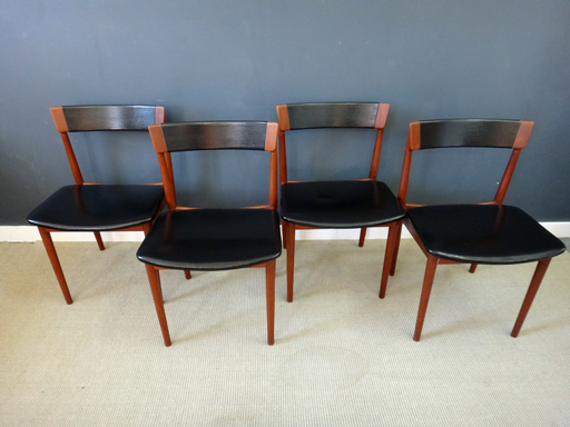 Rosengren Teak Black Leather Dining Chairs