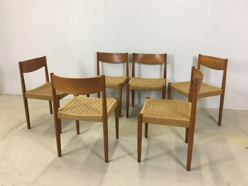 Set of six Teak and Danish Cord Dining Chairs