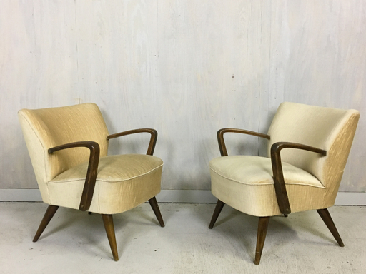 Mid Century German Upholstered Cocktail Chairs