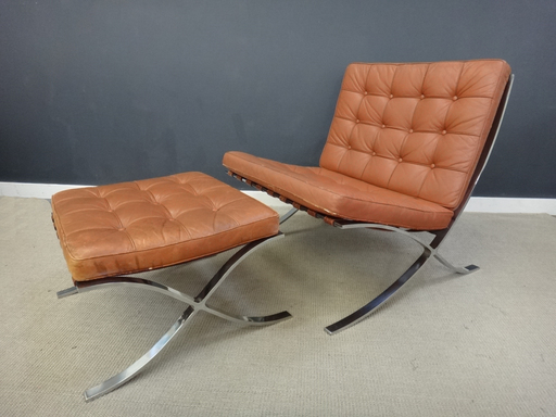 Mid Century Leather Barcelona Chair with Ottomans