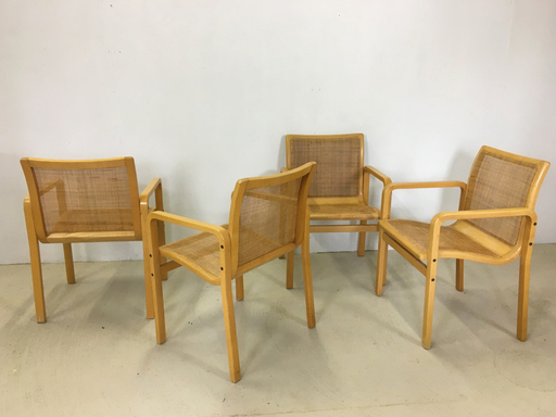 Set of Four Bentwood and Cane Dining Chairs