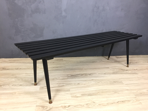 Mid Century Black Slatted Bench nbspBoston