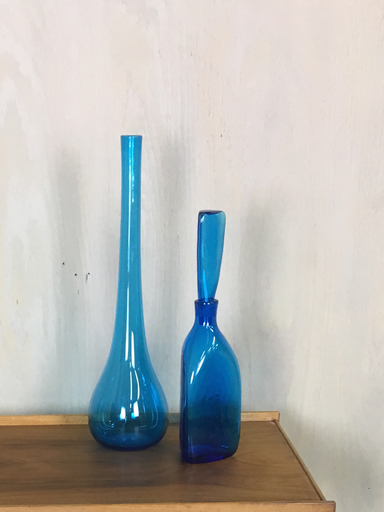 Mid Century Blue Glass Vessels