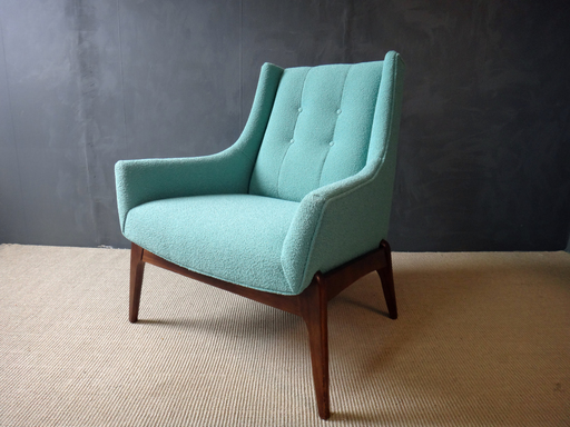 Mid Century Reupholstered Lounge Chair