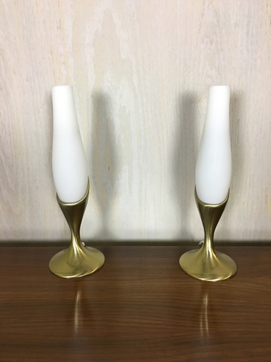 Mid Century Brass and glass boudoir lamps