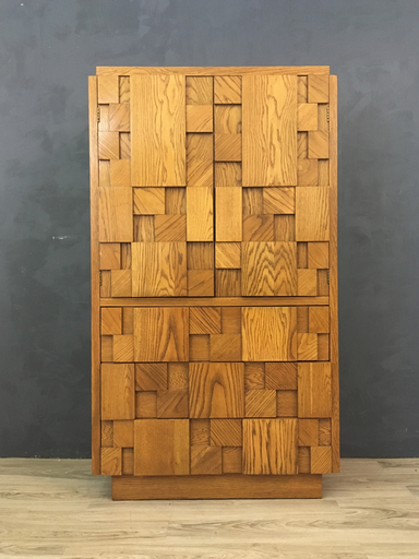 Mid Century Lane Brutalist Mosaic Pattern Oak Highboy Bureau Wardrobe nbspBoston