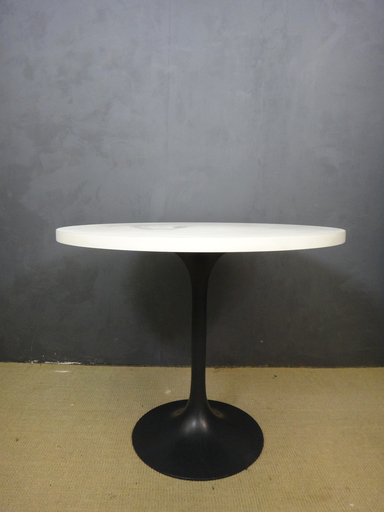 White Laminate Round Burke Table with Aluminum Base