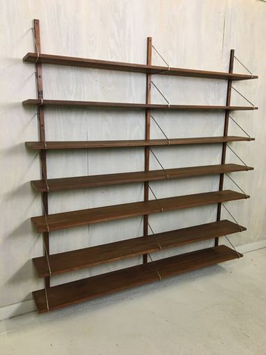 Wall Mounted Walnut Shelving Unit in Style of Poul Cadovius