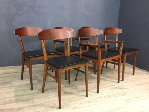 Danish Modern Dining Chairs with Rosewood Inlay