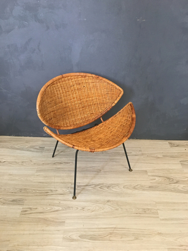 Mid Century Wicker and Iron Clam Chair Boston