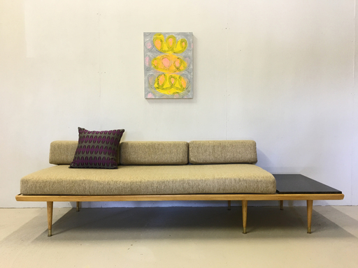 Mid Century Platform Couch with BuiltIn Side Table
