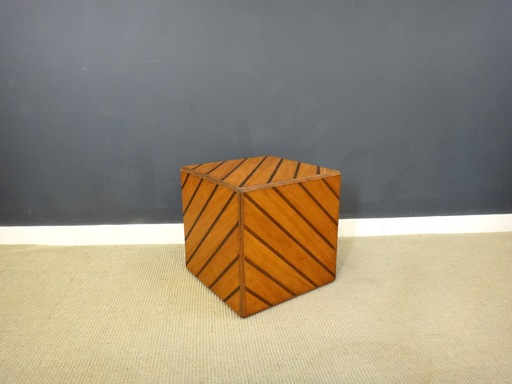 Mid Century Inlay Cube End Table