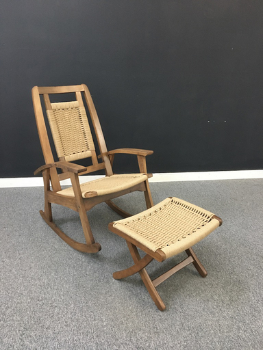 Danish Cord Rocking Chair with Ottoman