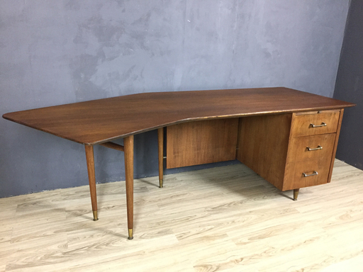 Mid Century Modern Walnut Boomerang Desk Retrocraft