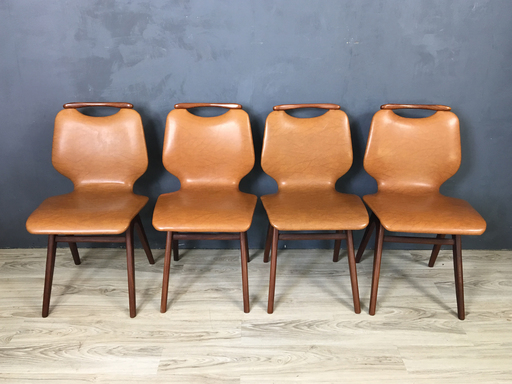 Mid Century Dutch Teak and Vinyl DIning Chairs