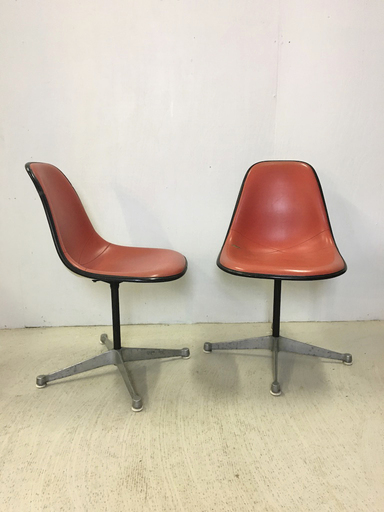 Pair of Eames Shell Chairs with Vinyl Cover